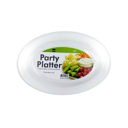 Kole Imports HI002-16 White Plastic Party Platter - Pack of 16 - Plastic Party Platters
