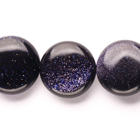 Puffed Blue Goldstone Flat Round Beads Semi Precious Gemstones Size  20X20mm Crystal Energy Stone Healing Power For Jewelry Making