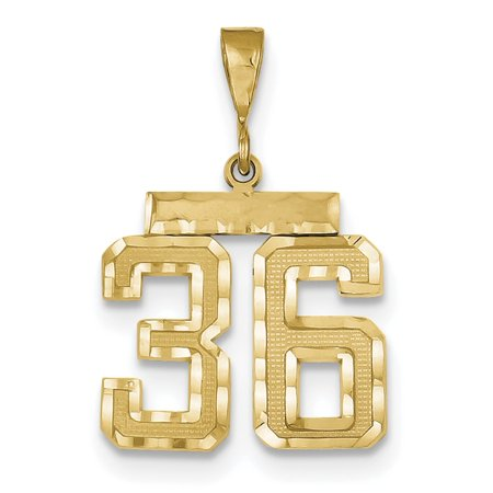 14k Medium Diamond-cut Number 36 Charm - Number Charms