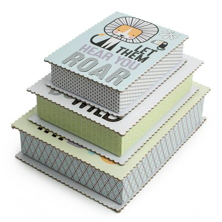 Tricoastal Design- Set Of 3 Scalloped Edged Storage Boxes In Fun Animal