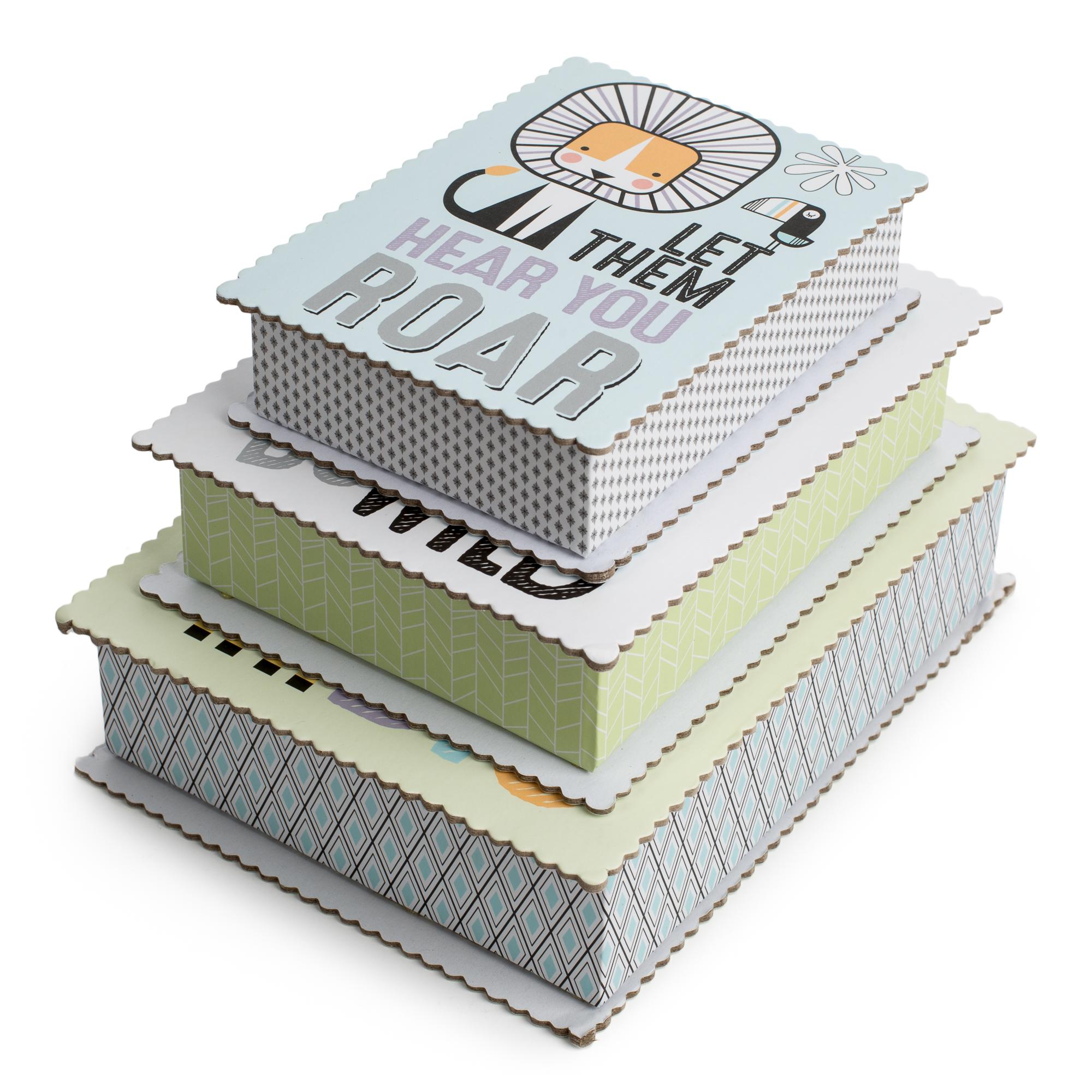 "Tricoastal Design- Set Of 3 Scalloped Edged Storage Boxes In Fun Animal ""Be Wild"" Prints"