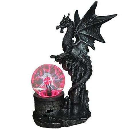 Gothic Sculpted Resin Dragon Statue With Glowing Electric Glass Plasma Ball - Glowing Glass