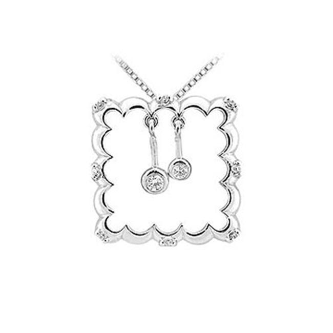 FineJewelryVault UBPD1820W14D-101 Diamond Frame Design Pendant : 14K White Gold - 0.25 CT Diamonds