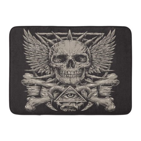 KDAGR Evil Heavy Metal Inspired Skull on Black Tattoo Demon Death Wings Doormat Floor Rug Bath Mat 23.6x15.7 inch