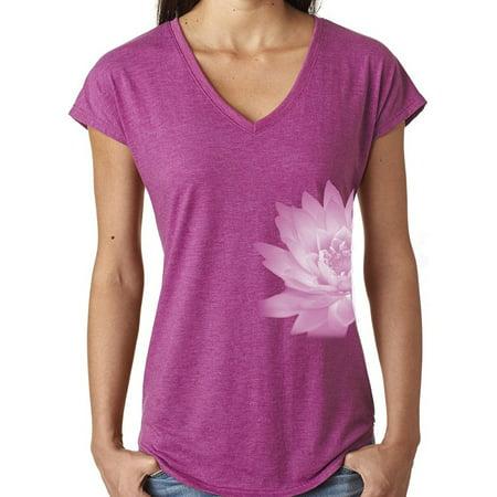 Ladies Lotus Flower V-neck Yoga Shirt - Heather Raspberry, XL (side print) (Heather Flower)