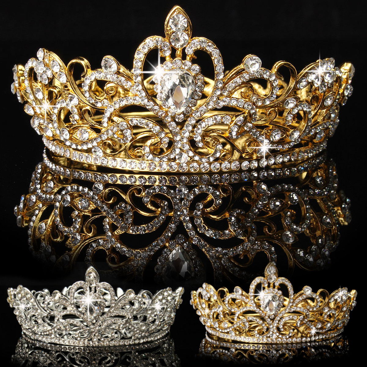 Luckyfine Crystal Rhinestone King Crown Tiara Wedding Pageant Bridal Diamante Headpiece