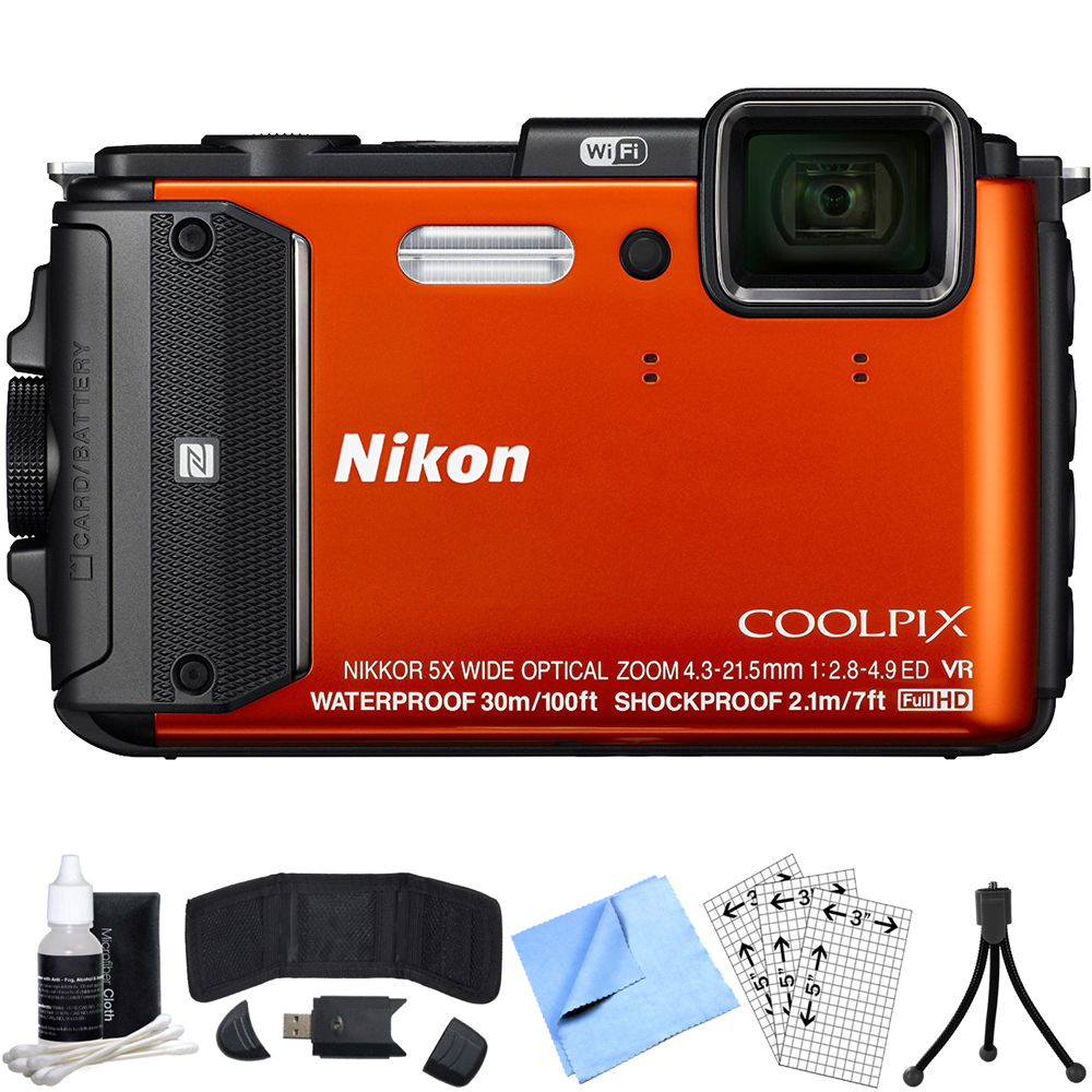 Nikon COOLPIX AW130 16MP Digital Camera (Orange) Refurbished Bundle includes COOLPIX AW130, Card Reader, Mini Tripod, Screen Protectors, Cleaning Kit, Memory Card Wallet and Beach Camera Cloth