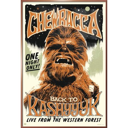 Star Wars - Framed Movie Poster / Print (Chewbacca The Wookie - Retro / Vintage Style) (Size: 24