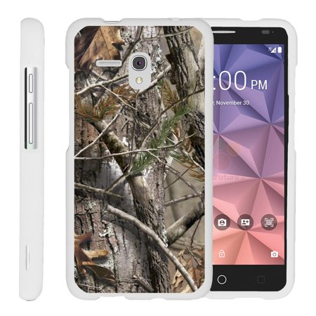 Alcatel One Touch Fierce XL 5054N, [SNAP SHELL][White] Hard White Plastic Case with Non Slip Matte Coating with Custom Designs - Tree Bark Hunter Camouflage