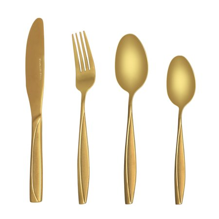 MDEALY 24-Piece Gold Silverware Kitchen Utensils Set Good Quality Stainless Steel Flatware Cutlery Service for 6 Include Dinner Knife Forks Spoon Teaspoons Elegant Mirror & Matte Handle Polished Gift