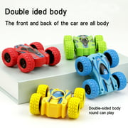Set of 4 Double-sided Stunt Flip Inertia Car Friction Powered Car Toys Push and Go Toy Cars for Toddlers Powered Pull Back Toys Vehicle 360 Rotation, Gifts for 3 4 5 6 7 8 Year Old Boy and Girl