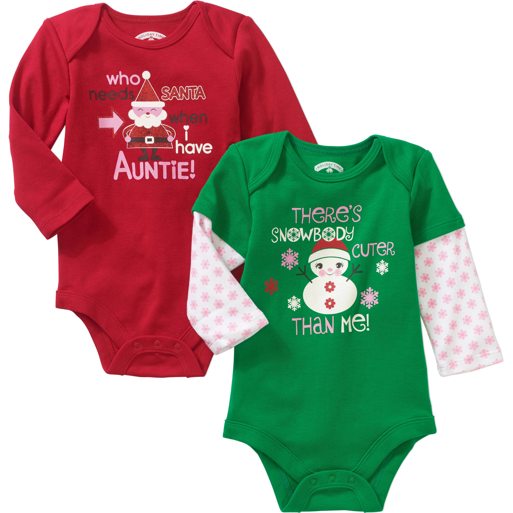 Christmas Newborn Baby Girl Auntie and Cuter Than Me Seasonal Bodysuit 2 pack