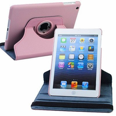 Pink Leather Mini (360 Rotating Leather Hybrid Smart Case for iPad Mini - Pink)