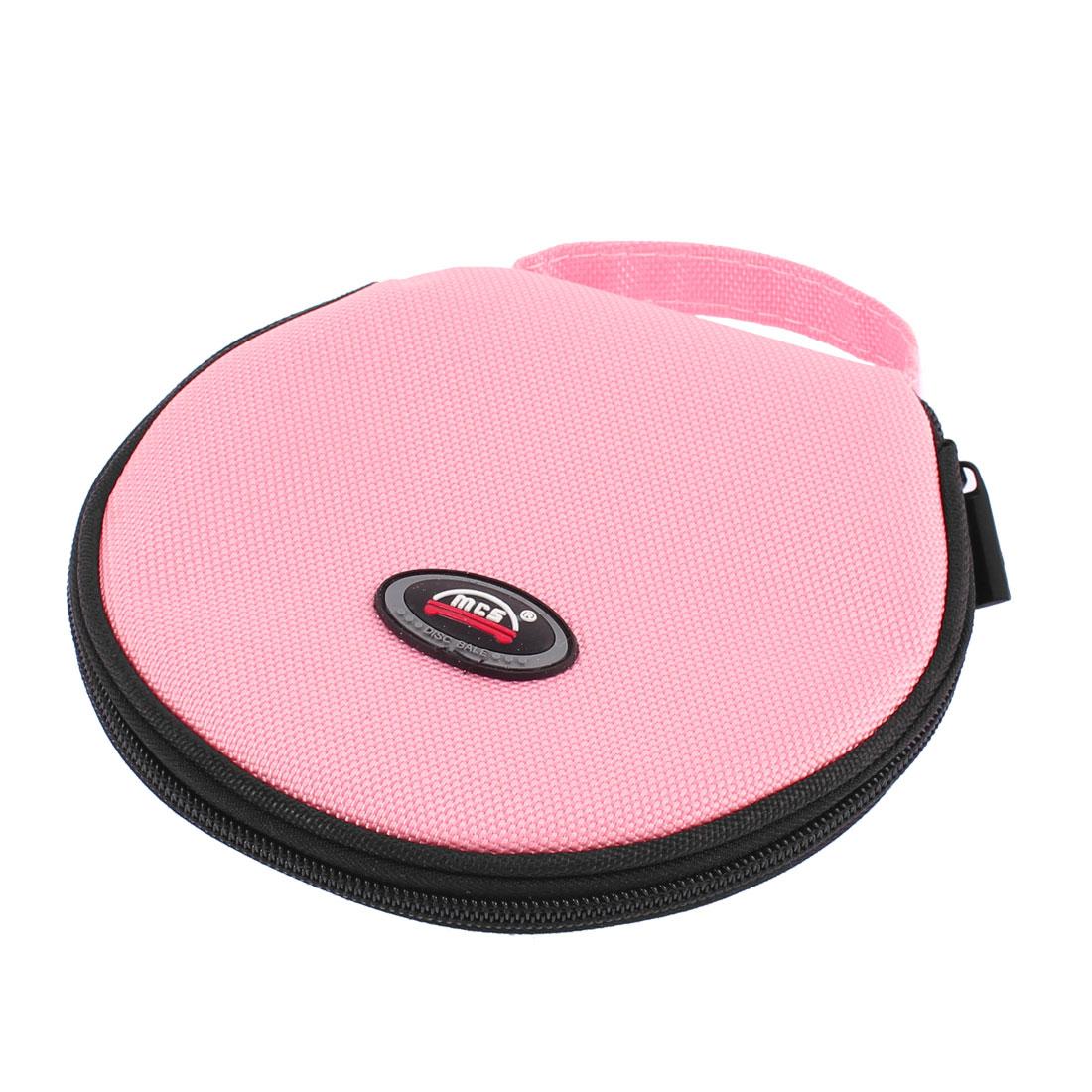 Pink Nylon Zipper Closure 10 Sheets 20 Pieces Capacity Car CD DVD Round Case Bag