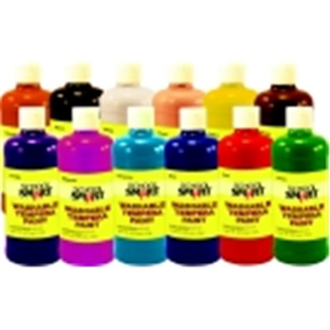School Smart Non-Toxic Washable Tempera Paint, 1 Pint, Set 12