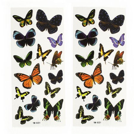 Colorful Butterfly Tattoos (Unique Bargains 2 Sheets Lady Back Leg Butterfly Pattern Sticker Temporary Tattoos)