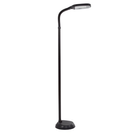 Natural Full Spectrum Sunlight Reading Floor Lamp by Lavish Home (Black) - Adjustable Gooseneck (White Wood Floor Lamp)