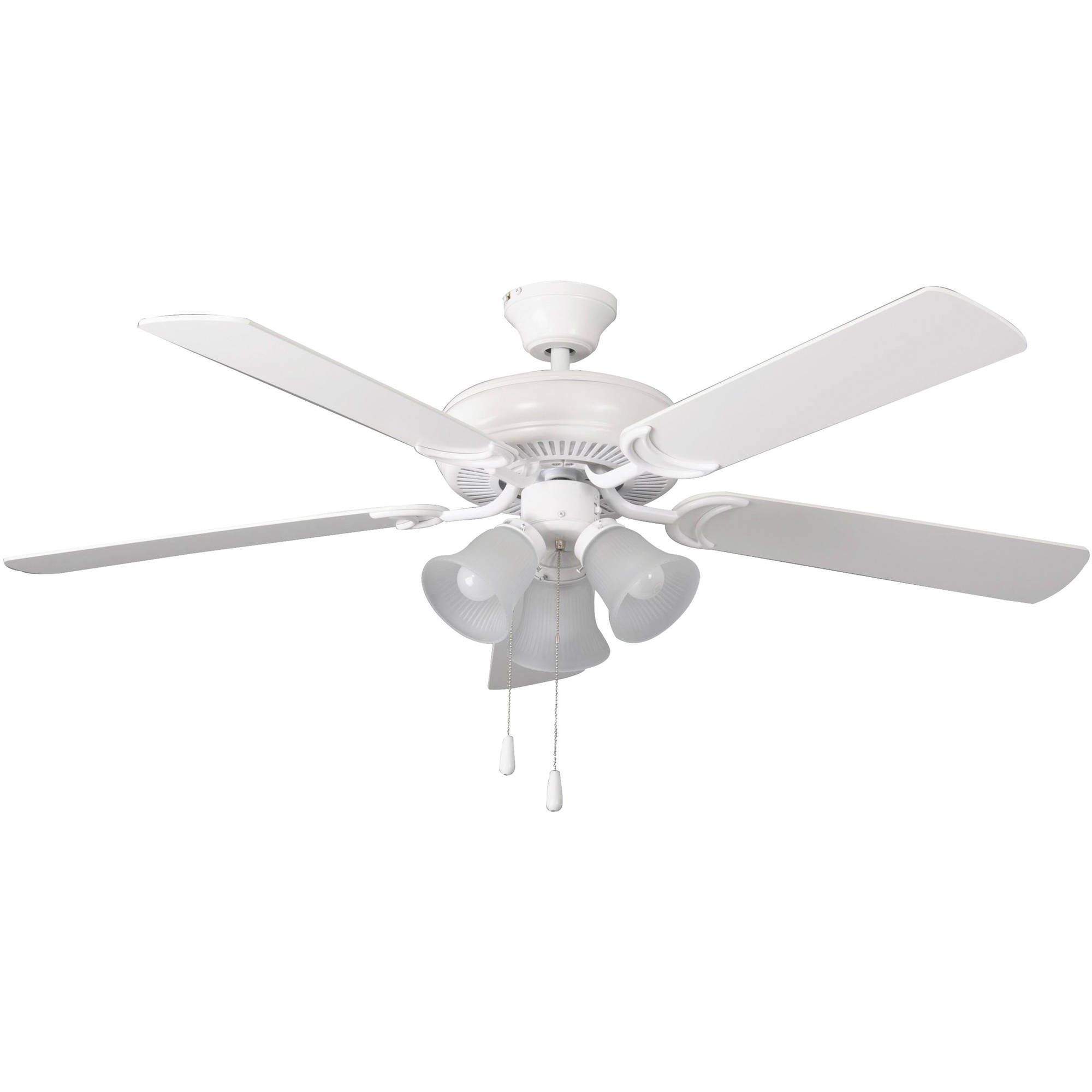 """Litex Industries Decorator's Choice 52"""" Dual-Mount Ceiling Fan, Matte White Finish, 3-Light Kit with 5 Blades"""