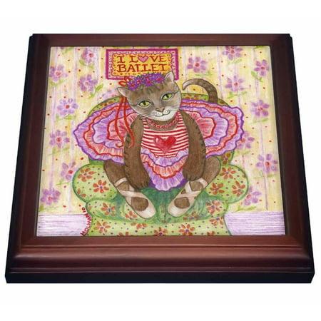 Ballerina Cat Costume (3dRose cat ballet ballerina cat in ballet costume I love ballet pastel illustration dance tutu feline, Trivet with Ceramic Tile, 8 by)