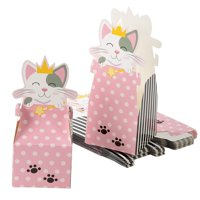 Cat Party Favor Boxes - 24-Pack Paper Treat Boxes with Die-Cut Princess Kitty, Cute Cat Themed Gable Boxes, Goodie Gift Loot Boxes, Girls Birthday Party Supplies, 3.5 x 3.5 x 8 Inches