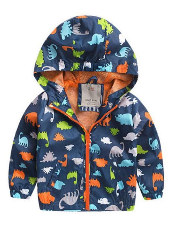 Baby Kids Boys Girl Jacket Dinosaur Sweater Hooded Coat Zip Sweatshirt Outerwear