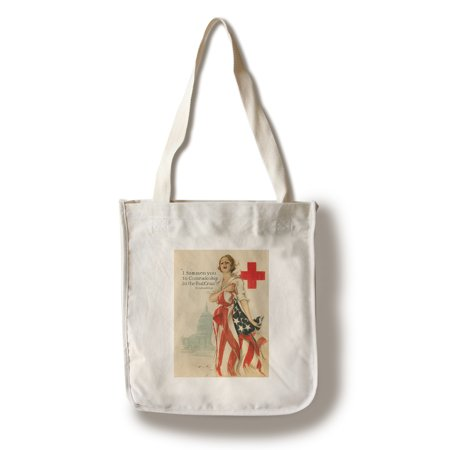 Red Cross  Vintage Poster (artist: Fisher, Harrison C.) USA c. 1918 (100% Cotton Tote Bag - Reusable)