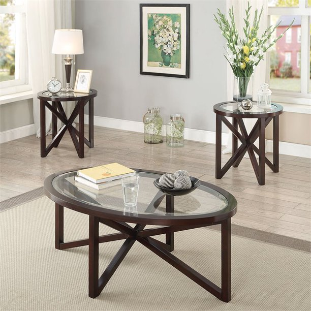 Bowery Hill 3 Piece Glass Top Coffee Table Set In Cappuccino Walmart Com Walmart Com