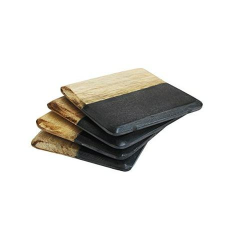 American Atelier Black and Light Wood Marble Coaster Pack of 4](Light Up Coaster)