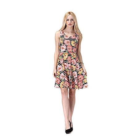 Floral Stripe Heart Cut Out Back Knit Fit & Flare Dress U.S.A - Black, L (Heart Cut Out Back Dress)