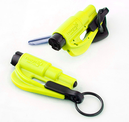 resqme - Quick Car Escape Tool. Seatbelt Cutter & Window Breaker - Neon Twin Pack