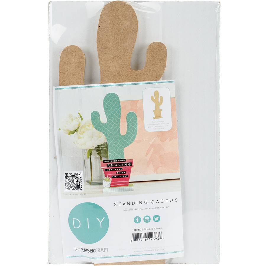 "Beyond The Page MDF Standing Cactus Shape, 10.25"" x 5.25"" x 1.5"""