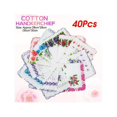 40Pcs Vintage Style Floral Flowers Handkerchief Lady Women Mocket Cotton - Beaded Handkerchief