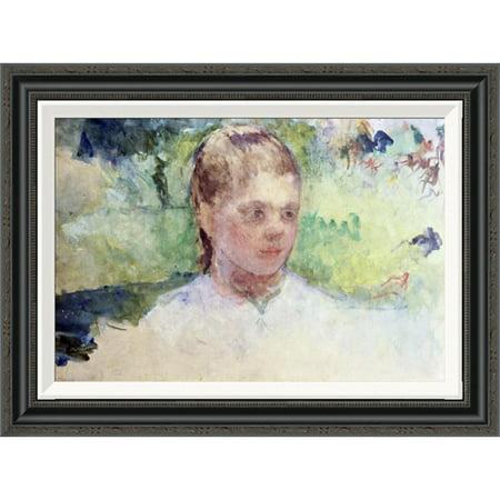 Global Gallery Little Girls Head   Green Background By Mary Cassatt Framed Painting Print
