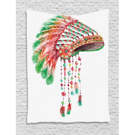 Feather Tapestry, Tribal Chief Costume Headdress Native American Culture Ethnicity Symbol, Wall Hanging for Bedroom Living Room Dorm Decor, 40W X 60L Inches, Vermilion Orange Green, by Ambesonne (Tribal Costumes)