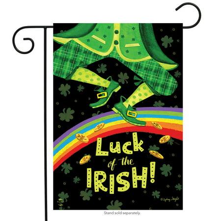 Irish Luck St. Patrick's Day Garden Flag Leprechaun Rainbow 12.5