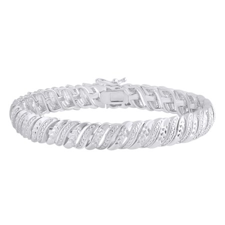 Diamond Cut Omega Bracelet (Round Cut White Natural Diamond Wave Tennis Bracelet In 14k White Gold Over Sterling Silver (0.25 cttw) - 8.5