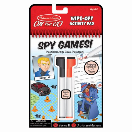 Melissa & Doug On the Go Spy Games Wipe-Off Activity Pad Reusable Travel Toy with 2 Dry-Erase Markers, Great Gift for Girls and Boys - Best for 6, 7, 8 Year Olds and