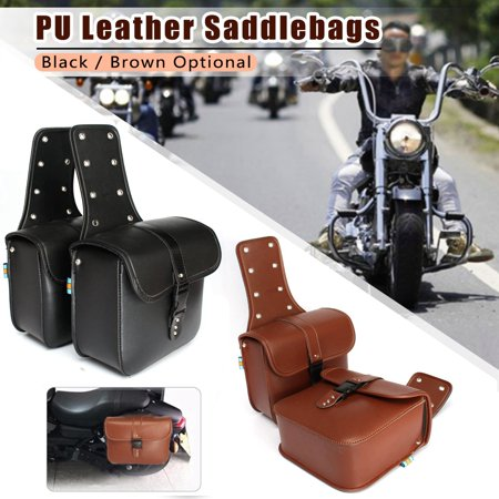 Motorcycle Saddle Bags Side Storage Luggage Pouches Leather For Honda Harley