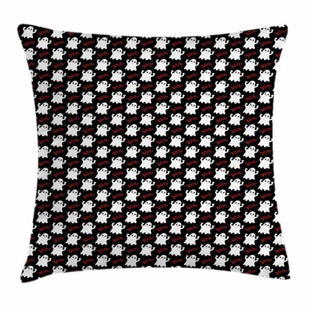 Ghost Throw Pillow Cushion Cover, Happy Halloween Theme with Silly White Ghosts on Black with Boo Texts, Decorative Square Accent Pillow Case, 18 X 18 Inches, Black White Vermilion, by Ambesonne](Halloween Main Theme Mp3)