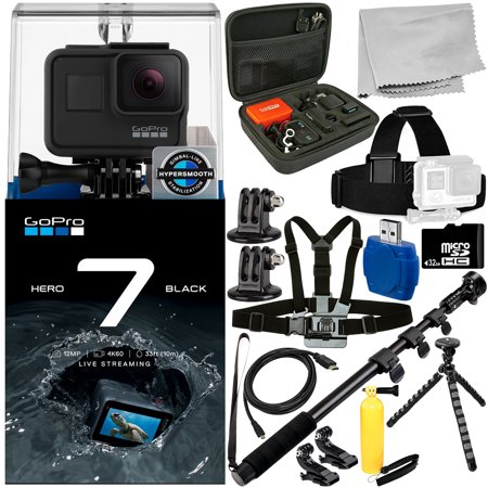 GoPro HERO7 HERO 7 Black 15PC Accessory Bundle - Includes 32GB microSD Memory Card + High Speed Memory Card Reader + Heavy Duty Monopod +