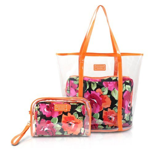 Jacki Design Tropicana 4-Piece Large Tote and Wristlet Accessory Holder Travel Set