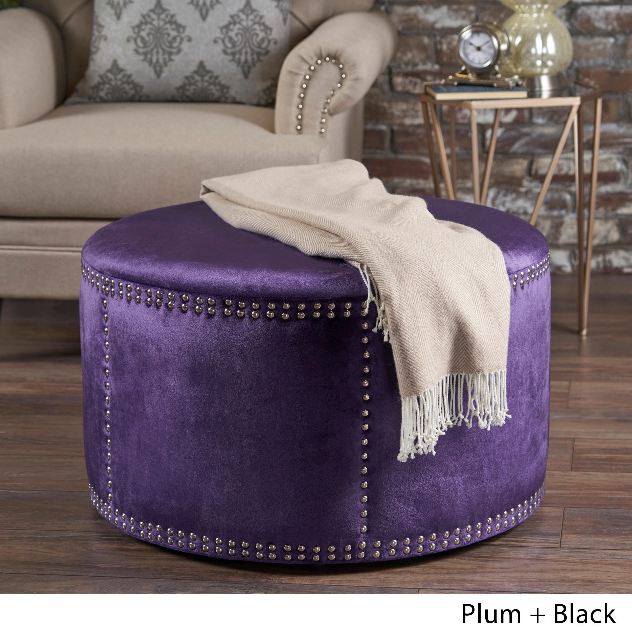 Christopher Knight Home Jaewon Studded Velvet Round Ottoman Stool by