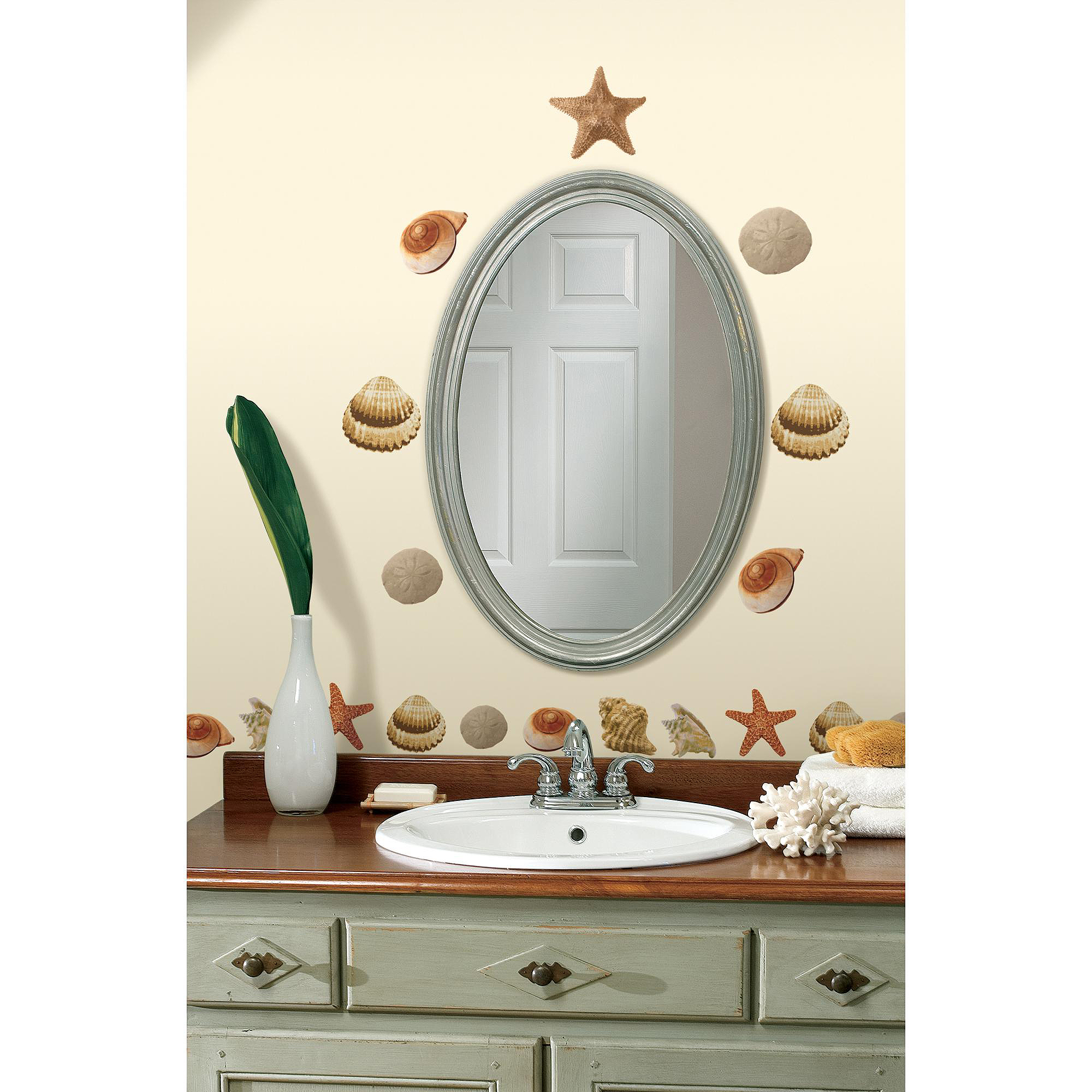 roommates sea shells peel and stick wall decals walmart com seashell wall decals ebay