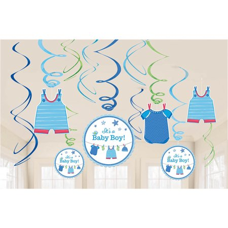 Shower With Love Baby Boy Foil Swirl Decorations (12 Pieces) - Baby Shower Party - Boy Party Decorations