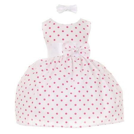 Baby Girls Fuchsia Polka Dot Headband Special Occasion Dress 12M