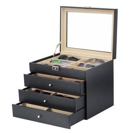 d7f3b6241c69 TimelyBuys - 24 Piece Black Carbon Fiber Eyeglass Display Case for  Oversized Sunglasses   Glasses Watch Organizer Collector Box - Walmart.com