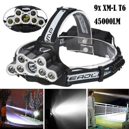 45000 LM 9X XM-L T6 LED Rechargeable Headlamp Headlight Head Torch