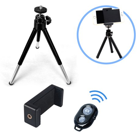 """eCostConnection 7"""" Extendable Mini Tripod + with Universal Smartphone Mount and Bluetooth Wireless Remote Control Camera Shutter for Smartphones & Microfiber Cloth - image 8 de 8"""