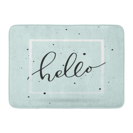 KDAGR Goodbye Brush Pen Hello Lettering in The Light Turquoise Say Hand Welcome Doormat Floor Rug Bath Mat 23.6x15.7