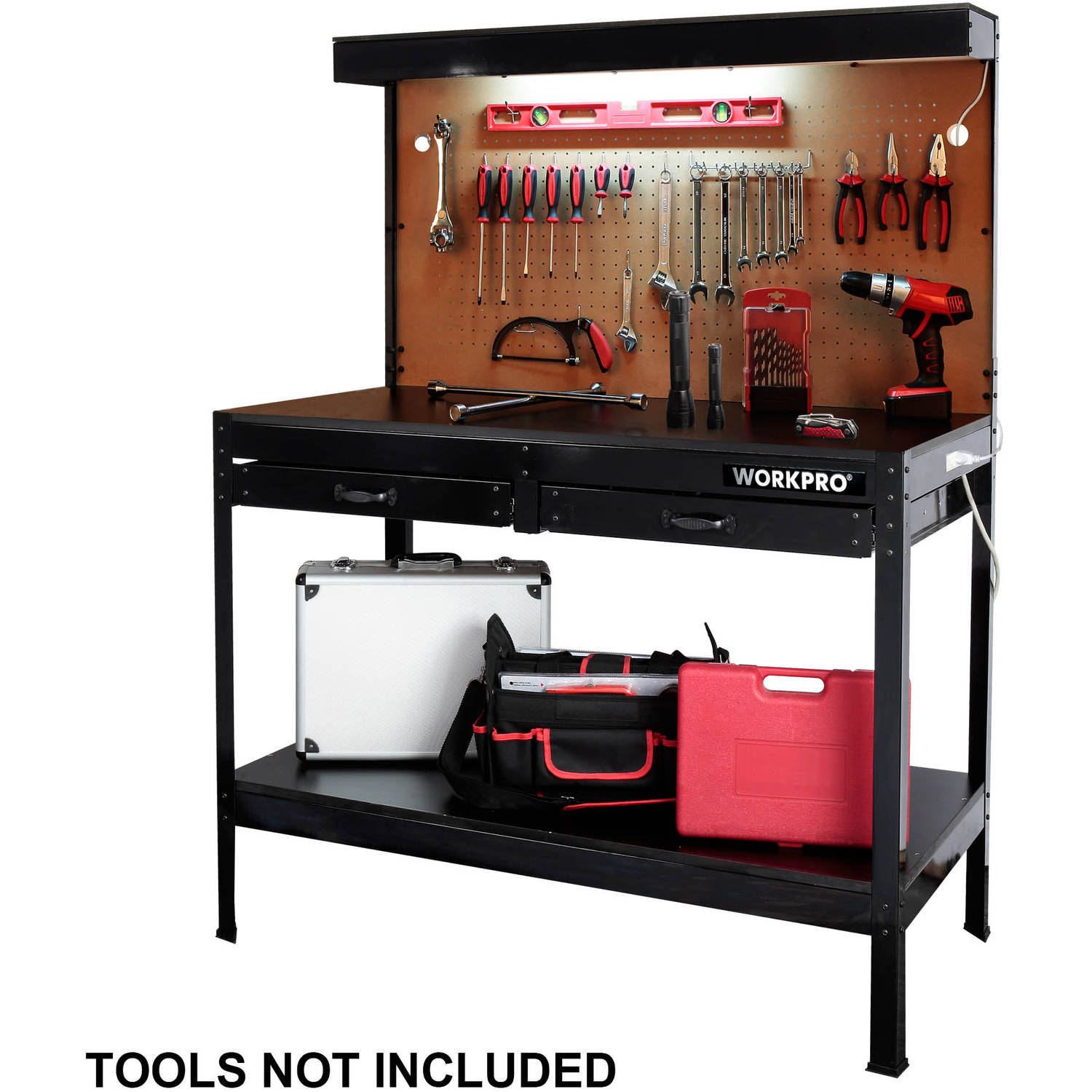 garage workbench with light wood steel work bench tools table home